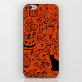 October Pattern- Black & Orange iPhone Skin