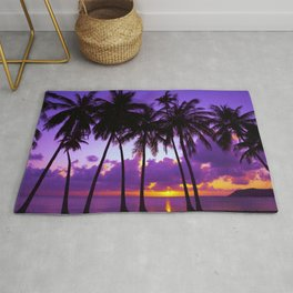 Purple Tropical Sunset Rug