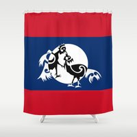 politics Shower Curtains featuring Laos, Roosters Sparring by mailboxdisco