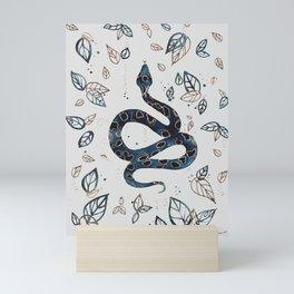 'Sea Serpent' snake and tropical illustration by Kristen Baker Mini Art Print
