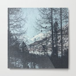 distant mountain peaks with snow Metal Print