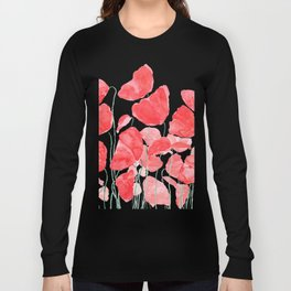 abstract red poppy field watercolor Long Sleeve T-shirt