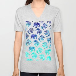 Boho turquoise blue ombre watercolor hand drawn mandala elephants pattern Unisex V-Neck