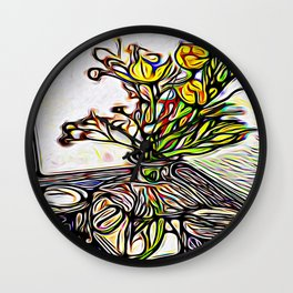 Shadow Flowers Wall Clock