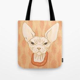 Grumpy Sphynx Cat - Hairless Kitty Illustration Tote Bag