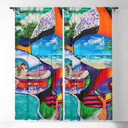 Isla del Encanto, Tainos, San Gerónimo, Condado, Puerto Rico painting-collage Blackout Curtain