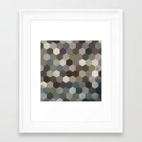 hexagon Framed Art Prints featuring Hexagon  by Kitty Emsley
