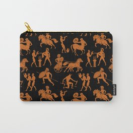Greek Figures // Orange & Black Carry-All Pouch