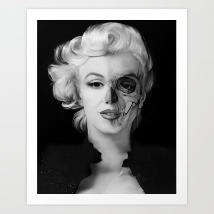 Dead Celebrities Series Half Skull Art Print