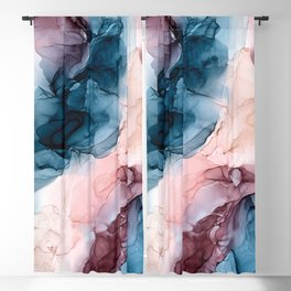 Pastel Plum, Deep Blue, Blush and Gold Abstract Painting Blackout Curtain