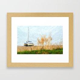 Boat on sandy beach at Bigbury-on-Sea Framed Art Print