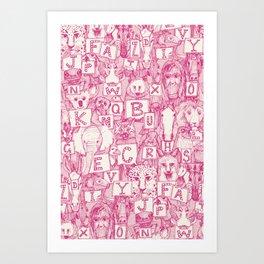 animal ABC pink ivory Art Print