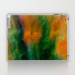 Fleur Blur-Abstract Orange Safflowers & Green Leaves Laptop & iPad Skin
