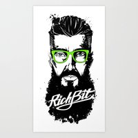 hipster lion Art Prints featuring RichBit. Hipster by New Lion Studio