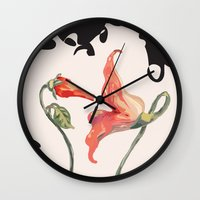 floyd Wall Clocks featuring Pink Floyd 's Flower  by Blaz Rojs