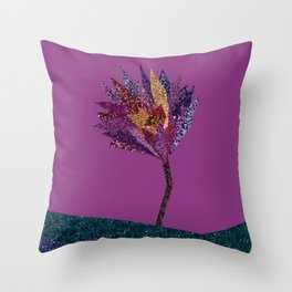 Purple flower with gold streak (purple) Throw Pillow