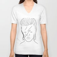 bowie V-neck T-shirts featuring Bowie by Luster