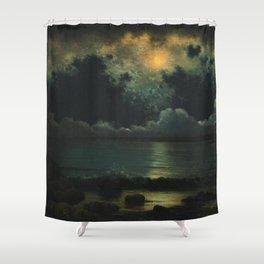 Point Judith, Rhode Island Night Scene, (c.1868) by Martin Johnson Heade Shower Curtain