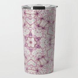 Vintage Raspberry Pink and Paris Gray Earth Mandala with Hearts Travel Mug