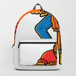 Construction Worker Jackhammer Mono Line Art Backpack