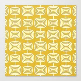 Mid Century Modern Atomic Rings Pattern Mustard Yellow Canvas Print