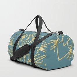 Golden Snowflake Teal Duffle Bag