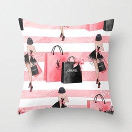 Fashion girl shopping Throw Pillow