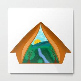 Adventure inside tent Metal Print