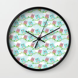Cute Pink Teal White Pastel blue Green Litlle Owl Wall Clock