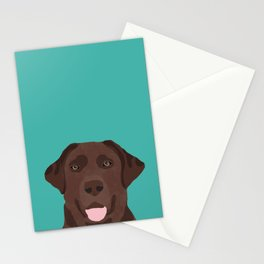 Chocolate Lab peeking dog head labrador retriever must have funny dog breed gifts Stationery Cards