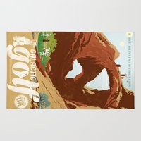 travel poster Area & Throw Rugs featuring Galactic Golf - Retro travel poster by Duke Dastardly