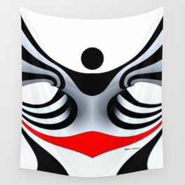 Black White and Red Geometric Abstract Wall Tapestry