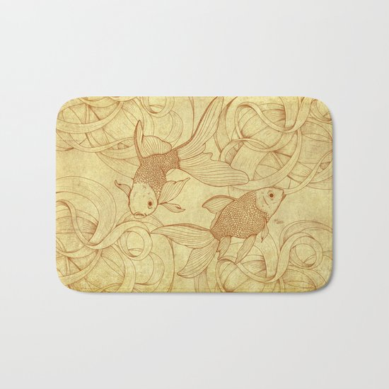 Vintage Goldfishes  Bath Mat
