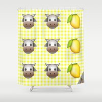 milk Shower Curtains featuring Milk Milk Lemonade Emoji by sabsurd