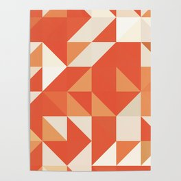 Decorative Orange Geometerical Pattern Poster