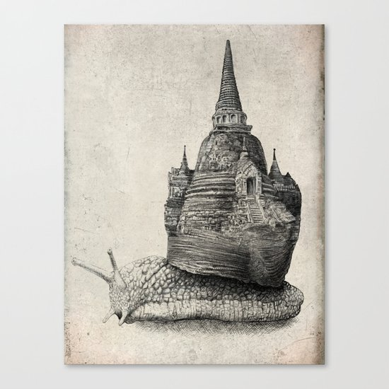 The Snail's Dream (monochrome option) Canvas Print