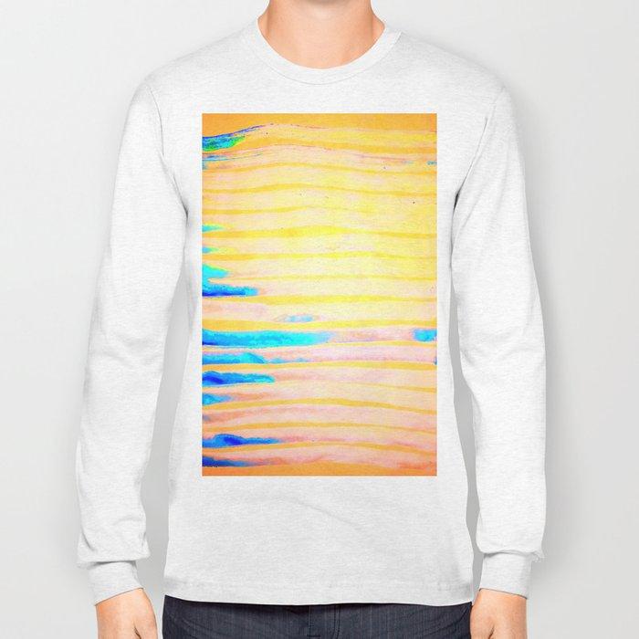 Orange Pantone Ocean Blue Lines Long Sleeve T-shirt