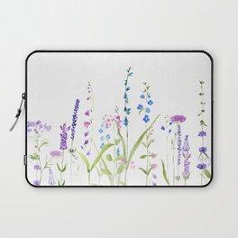 purple blue wild flowers watercolor painting Laptop Sleeve