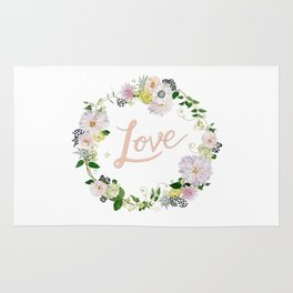 Love Pink Flower Wreath Rug