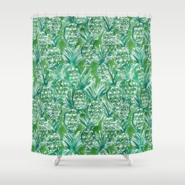 DEM PINEAPPLES Green Tropical Shower Curtain