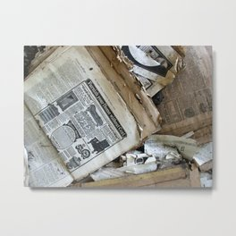Old Newspaper Left to the Elements...Furnish Your Home in Style Metal Print