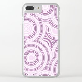 Elegant Funky Pastel Pink Retro Marble Circles Pattern Clear iPhone Case