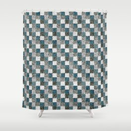 Rustic Gray Turquoise Green Beige Patchwork Shower Curtain