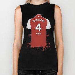 "Arsenal - Gunners Home Shirt Quote ""Gunners 4 Life"" Biker Tank"