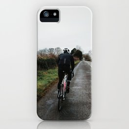 cycling on winter british lanes iPhone Case