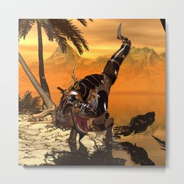 T-rex with armor Metal Print