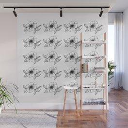 The Camellia flower - black & white Wall Mural
