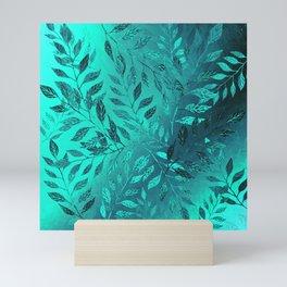 Monochrome Leaf Arrangement (Teal) Mini Art Print
