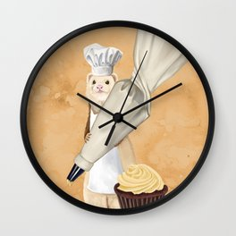 Ferret and Frosting Wall Clock