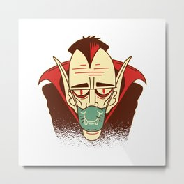 Funny Dracula Halloween Face Mask Gift Metal Print